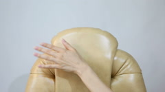 Female Hand Touching New Leather Office Boss Chair (armchair) Stock Footage