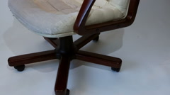 Old Crannied Office Boss Chair (armchair). Grown old upholstery. Restoration Stock Footage