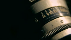 Lens of old camera Stock Footage
