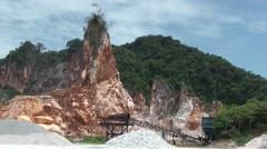 Blasting, Limestone quarry, Malaysia Stock Footage