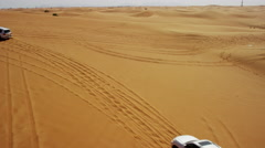 Aerial UAE Drone Off Road Vehicles Desert Safari Stock Footage