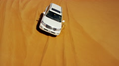 Aerial Dubai Drone view of Desert vehicles dune bashing Stock Footage
