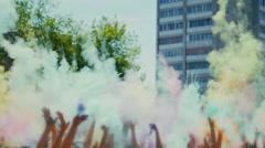 Celebration of Holi colors festival , slow motion Stock Footage