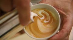 Making of cafe latte art, heart shape Stock Footage