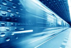 Underground train, subway in motion. Blue tint Kuvituskuvat