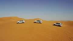 Aerial Drone view of sand dune Trip Dubai Desert Arabia Stock Footage
