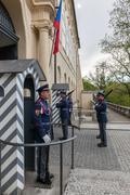Changing of the guards of Prague Castle. Prague, Czech Republic Stock Photos