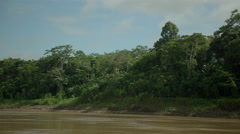 Tambopata river filming from boat Stock Footage