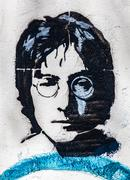John Lennon Wall, Prague, Czech Republic. Portrait close-up background Stock Photos