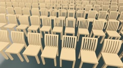 Moving rows of wooden chairs Stock Footage