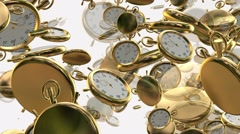 Flying,rotating stopwatches,chronometers in golden color Stock Footage