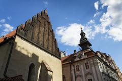 Old New Synagogue in Prague - oldest active European synagogue - stock photo