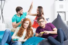 Disappointance on the unexpectedly lost game Stock Photos