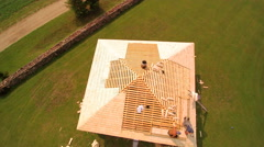 Closer aerial shot of the unfinished roof Stock Footage
