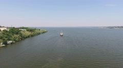 Ukrainian warship torpedo leaves the river harbor Stock Footage