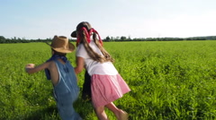 Children Playing Together In Country Setting Stock Footage