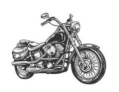 Motorcycle. Vector engraved illustration - stock illustration
