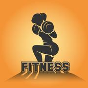 Fitness club emblem with training athletic woman - stock illustration