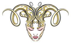 Girl with horns of a ram drawn in tattoo style - stock illustration