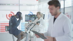 4K Portrait of sport scientist in white coat, man being tested in background Stock Footage