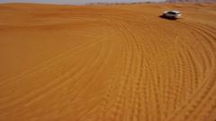 Aerial UAE Drone Off Road Vehicles Desert Safari Stock Footage