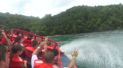 Wild Niagara Gorge Jetboat Ride In Whitewater Rapids Stock Footage