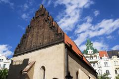 Old New Synagogue in Prague - oldest active European synagogue Stock Photos