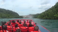Wild Niagara Gorge Jetboat Ride In Whitewater Rapids - stock footage