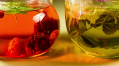 Berry herbal tea in a glass Stock Footage