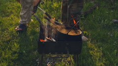 Boil water on the fire Stock Footage