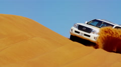Aerial Drone view of sand dune Trip Dubai Desert Arabia Stock Footage