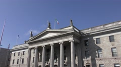 General Post Office Dublin roofline blue sky Stock Footage