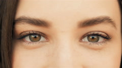 Close Up of a Woman's Face. Beauty shot. Beautiful Eyes Macro Outdoors, Beauty - stock footage