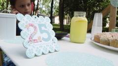 Children Running Roadside Lemonade Stand In Summer Stock Footage