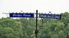 Berlin street signs in the rain Stock Footage