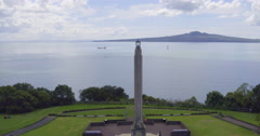 Aerial view of the Michael Savage memorial in Auckland New Zealand - stock footage