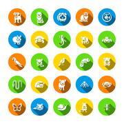 Animals pets vector flat round icons set Stock Illustration