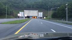 Vehicle Traveling Through Underground Tunnel On Highway Stock Footage