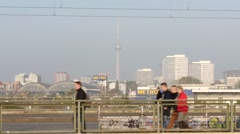 Berlin Warschauer bridge cityscape timelapse Stock Footage