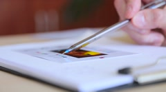 Designer chooses the palette on paper close up Stock Footage