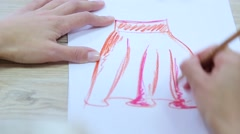 Designer draws the curtains sketch Stock Footage