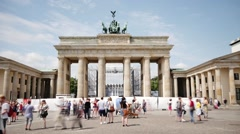 Berlin Brandenburger Tor landmark with musician in front of it Stock Footage