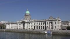 Custom House Dublin River Liffey deep blue sky green dome Stock Footage