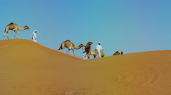 Middle Eastern male camel owners in desert convoy Arabia Stock Footage