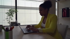 Business woman works in modern office Stock Footage