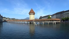 LUCERNE, SWITZERLAND - Mai, 2016 - Historic city center of Lucerne famous bridge - stock footage
