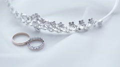 Wedding rings and diadem Stock Footage