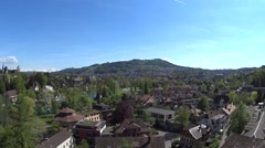 Panorama of the Old City of Berne on a sunny day. There are old houses, a river Stock Footage