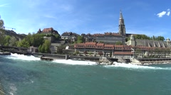Bern Switzerland on the shore of the River old town Stock Footage