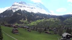 Grindelwald Switzerland village green summer valley meadow Stock Footage